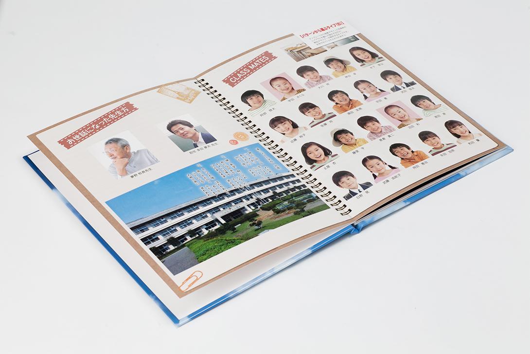先生の写真とクラスメイトの個人写真が入ったパターン。20人程度のクラスならこのレイアウトがおすすめ。